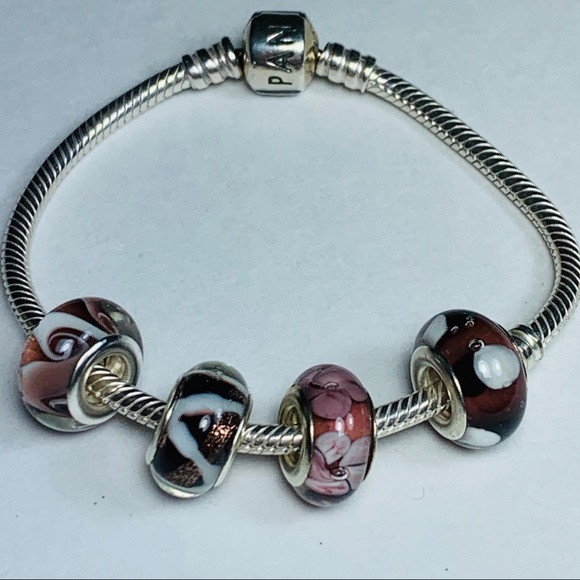 Pandora snake chain bracelet w/ charm